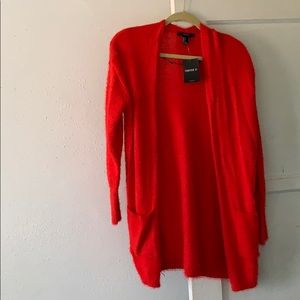 Forever 21 Red Fuzzy Cardigan